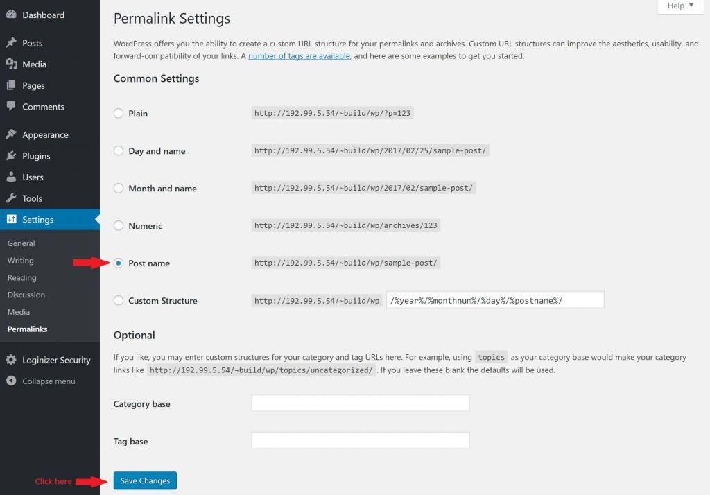 screenshot of WordPress permalinks control panel