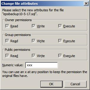 screenshot of a filezilla permissions dialog in a windows ftp environment