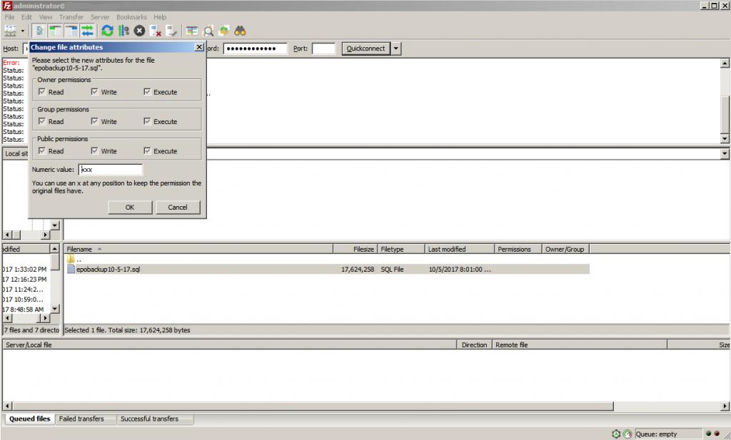 Screenshot of Filezilla permissions dialog.