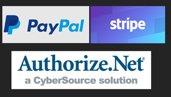 3 payment processors logos paypal stripe and authorize.net
