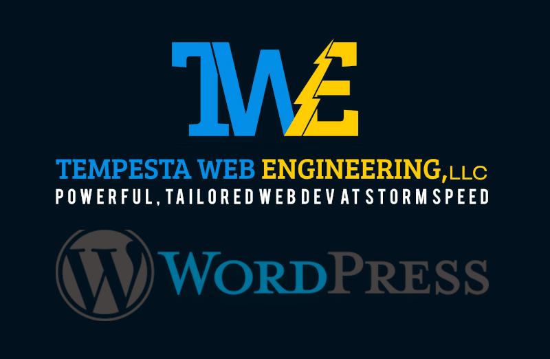 logo for Tempesta Web Engineering and logo for WordPress.org WordPress website support